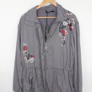 Max Jeans Blue Embroidered Utility Jacket
